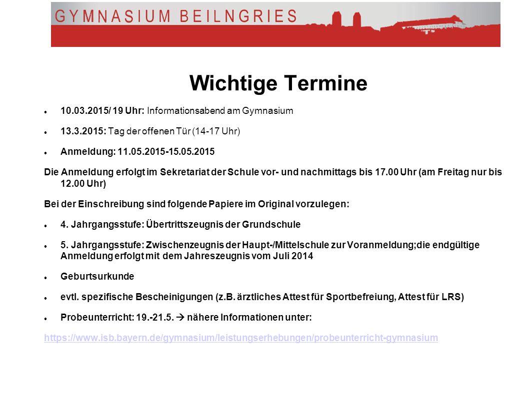 Noch mehr Informationen: www.isb.bayern.de (Lehrplan, Infos zum G8) www.gymnasium-beilngries.de www.schulberatung.bayern.de
