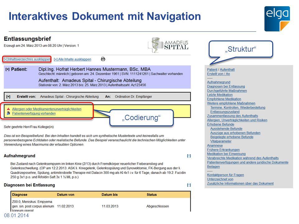 """Interaktives Dokument mit Navigation """"Codierung"""" """"Struktur"""" 08.01.2014"""