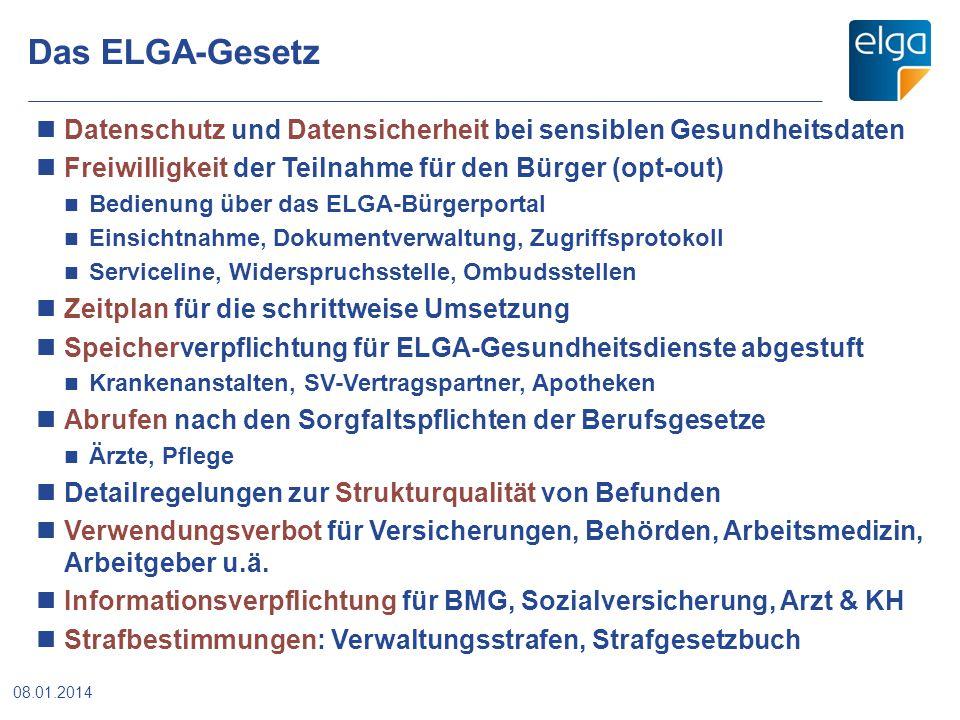 Das ELGA-Gesetz 08.01.2014 Datenschutz und Datensicherheit bei sensiblen Gesundheitsdaten Freiwilligkeit der Teilnahme für den Bürger (opt-out) Bedien
