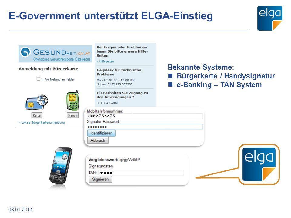 E-Government unterstützt ELGA-Einstieg 08.01.2014 0664XXXXXXX Bekannte Systeme: Bürgerkarte / Handysignatur e-Banking – TAN System