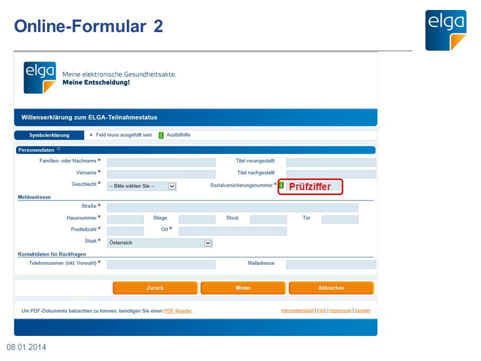 Online-Formular 2 08.01.2014 Prüfziffer