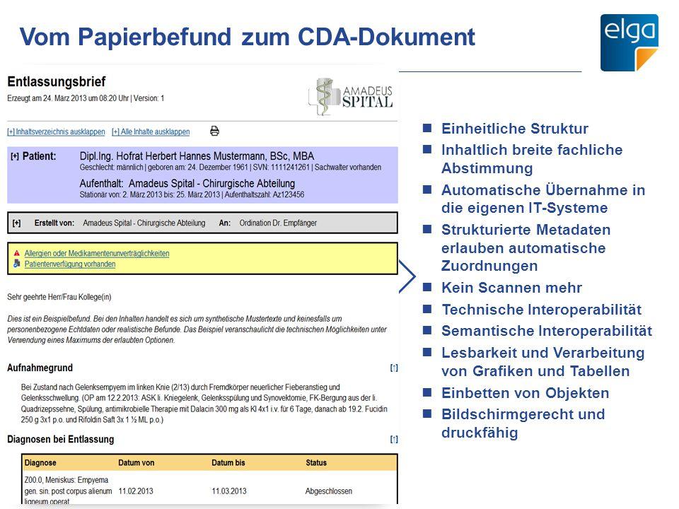 Vom Papierbefund zum CDA-Dokument 08.01.2014 Einheitliche Struktur Inhaltlich breite fachliche Abstimmung Automatische Übernahme in die eigenen IT-Sys