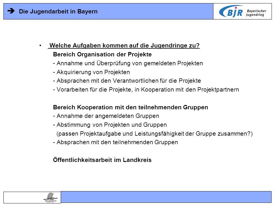  Die Jugendarbeit in Bayern Welche Aufgaben kommen auf die Jugendringe zu.