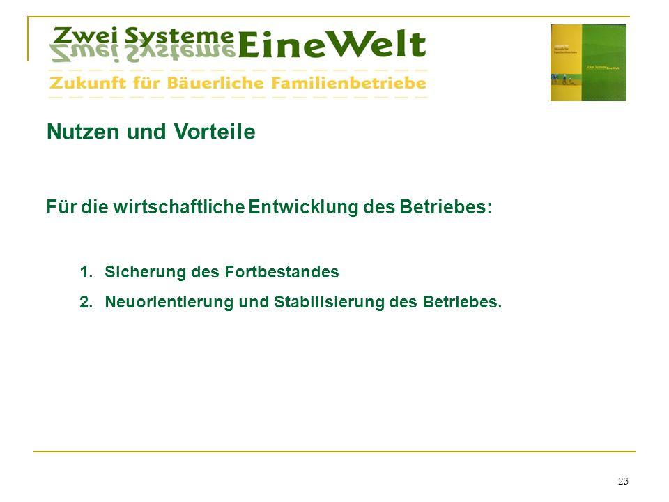 Nutzen und Vorteile Für die wirtschaftliche Entwicklung des Betriebes: 1.Sicherung des Fortbestandes 2.Neuorientierung und Stabilisierung des Betriebes.