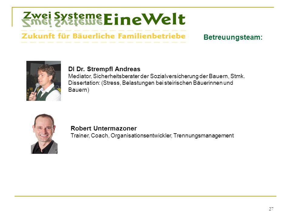 Betreuungsteam: DI Dr. Strempfl Andreas Mediator, Sicherheitsberater der Sozialversicherung der Bauern, Stmk. Dissertation: (Stress, Belastungen bei s