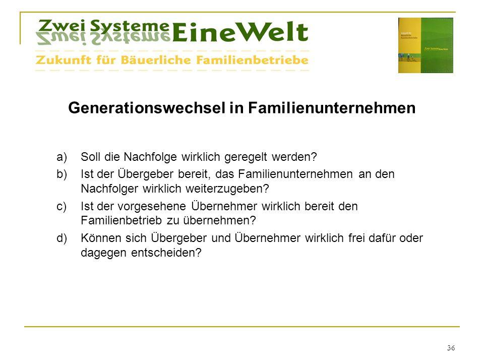 Generationswechsel in Familienunternehmen a)Soll die Nachfolge wirklich geregelt werden.