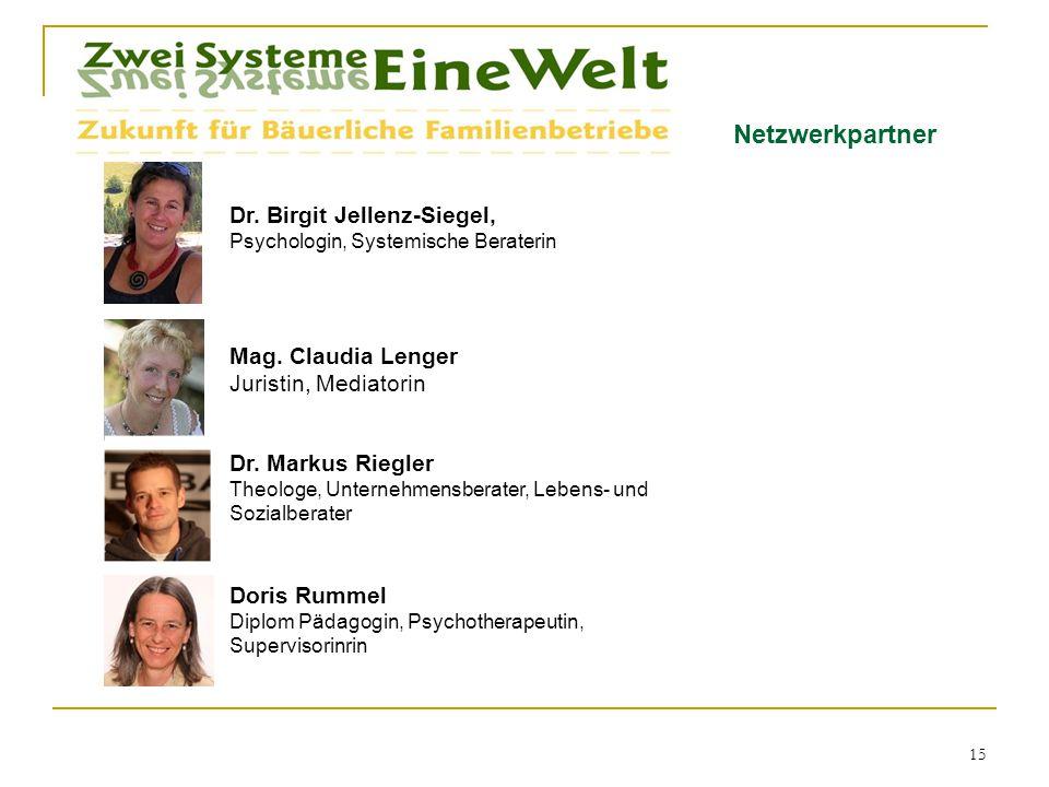 Netzwerkpartner Dr.Birgit Jellenz-Siegel, Psychologin, Systemische Beraterin 15 Mag.