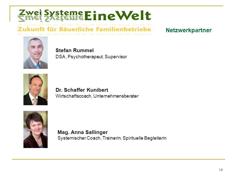 Netzwerkpartner 16 Stefan Rummel DSA, Psychotherapeut, Supervisor Dr. Schaffer Kunibert Wirtschaftscoach, Unternehmensberater Mag. Anna Sallinger Syst