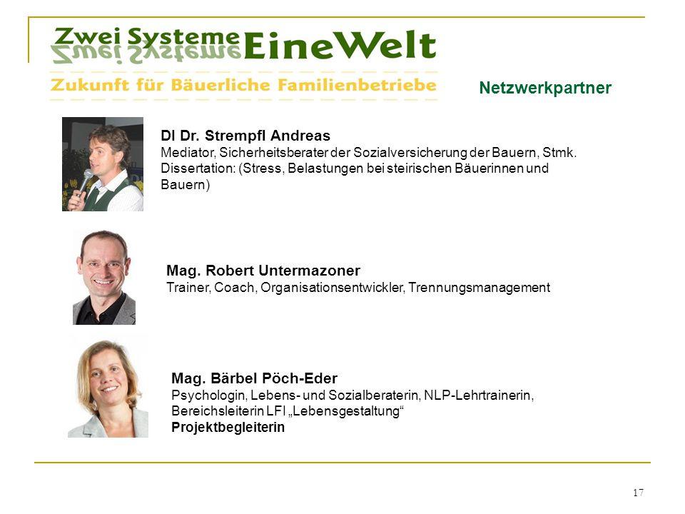 Netzwerkpartner DI Dr. Strempfl Andreas Mediator, Sicherheitsberater der Sozialversicherung der Bauern, Stmk. Dissertation: (Stress, Belastungen bei s