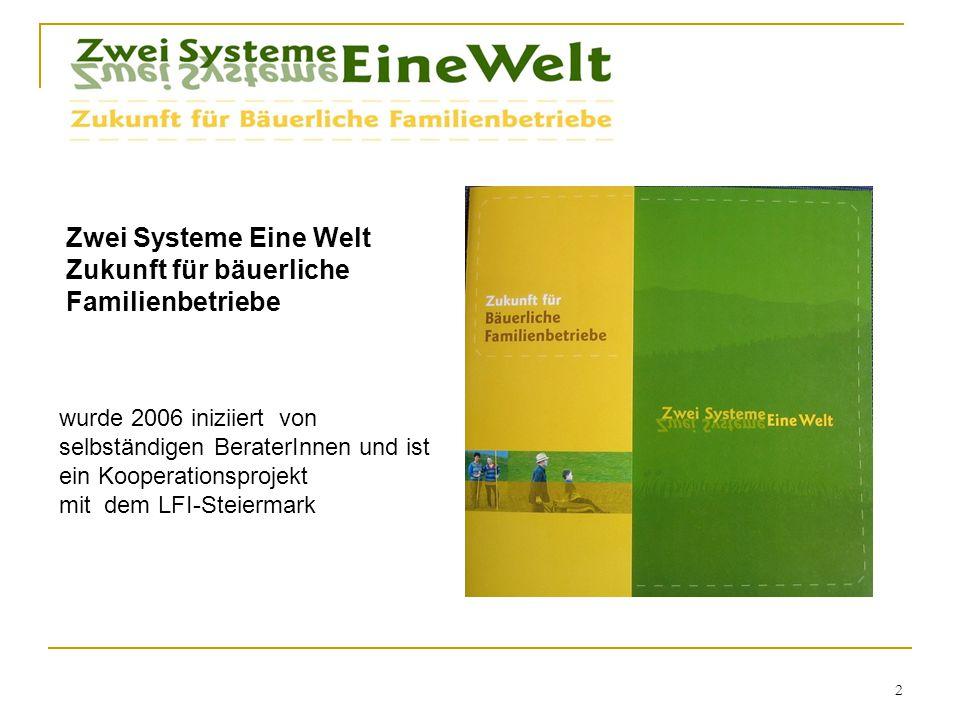2 wurde 2006 iniziiert von selbständigen BeraterInnen und ist ein Kooperationsprojekt mit dem LFI-Steiermark Zwei Systeme Eine Welt Zukunft für bäuerliche Familienbetriebe