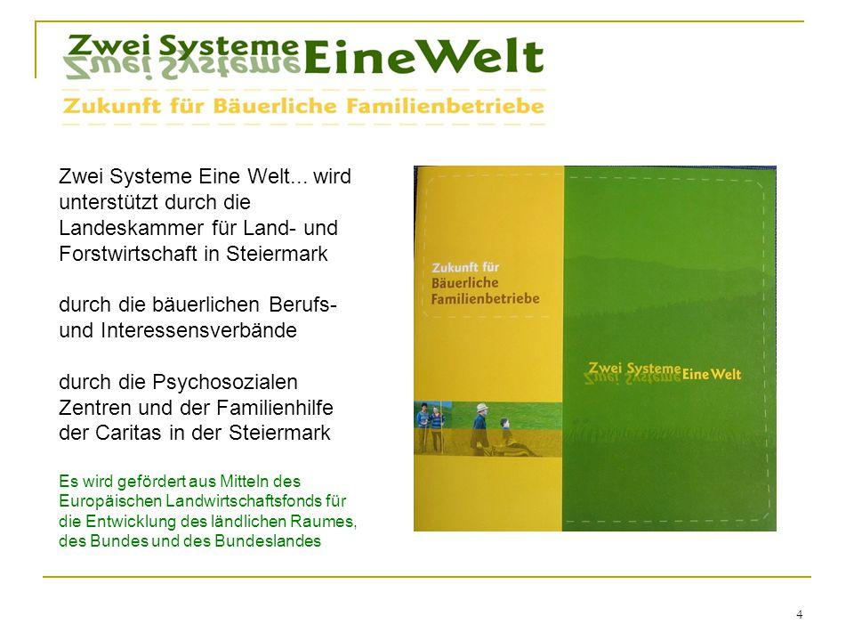 4 Zwei Systeme Eine Welt... wird unterstützt durch die Landeskammer für Land- und Forstwirtschaft in Steiermark durch die bäuerlichen Berufs- und Inte