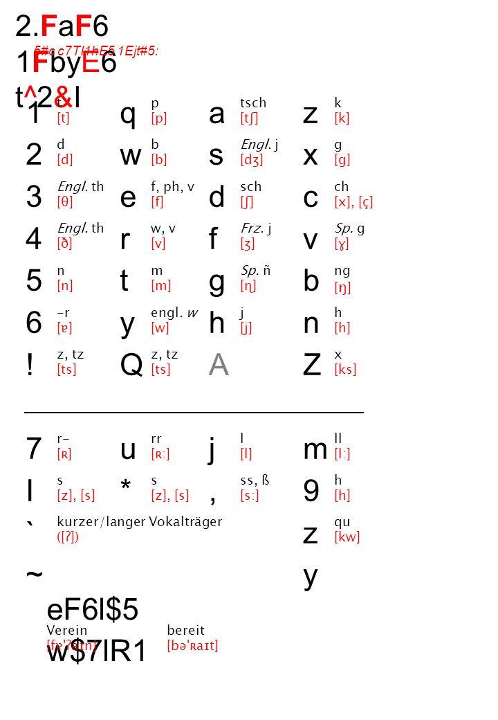 s [z], [s] 2.FaF6 1FbyE6 t^2&I 5#c c7TI1hE5 1Ejt#5: 123456!7I`~123456!7I`~ qwertyQu*qwertyQu* asdfghAj,asdfghAj, zxcvbnZm9zyzxcvbnZm9zy t [t] d [d] Engl.