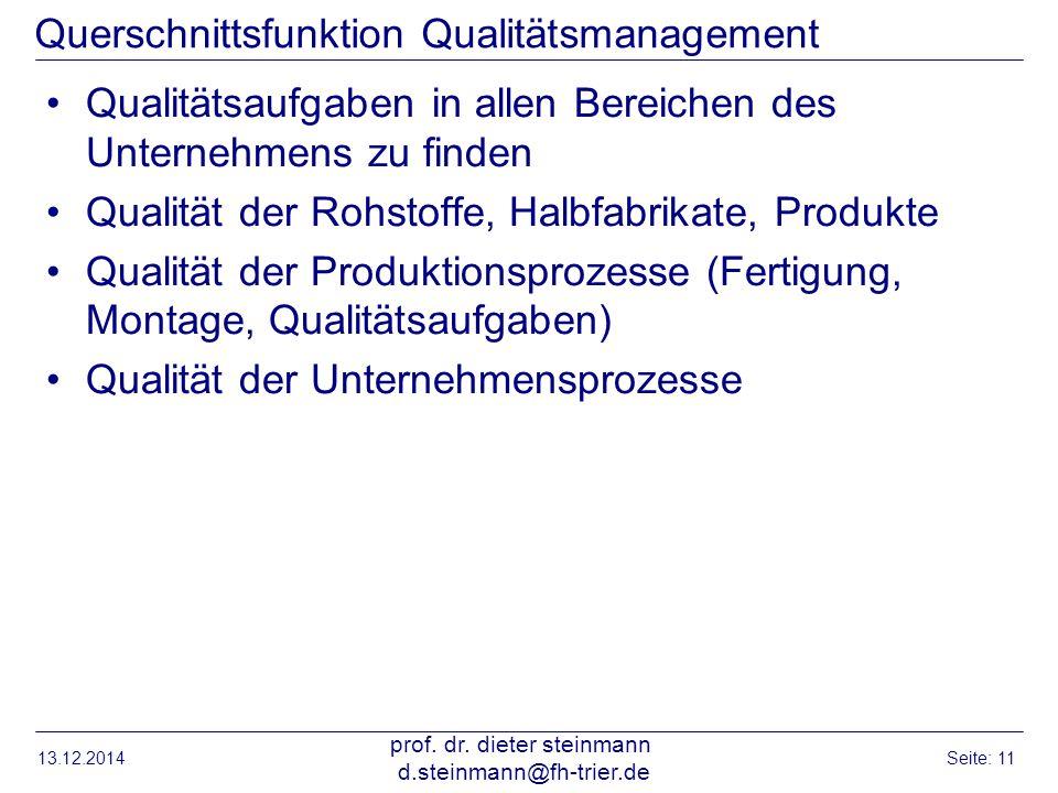 Querschnittsfunktion Qualitätsmanagement Qualitätsaufgaben in allen Bereichen des Unternehmens zu finden Qualität der Rohstoffe, Halbfabrikate, Produk