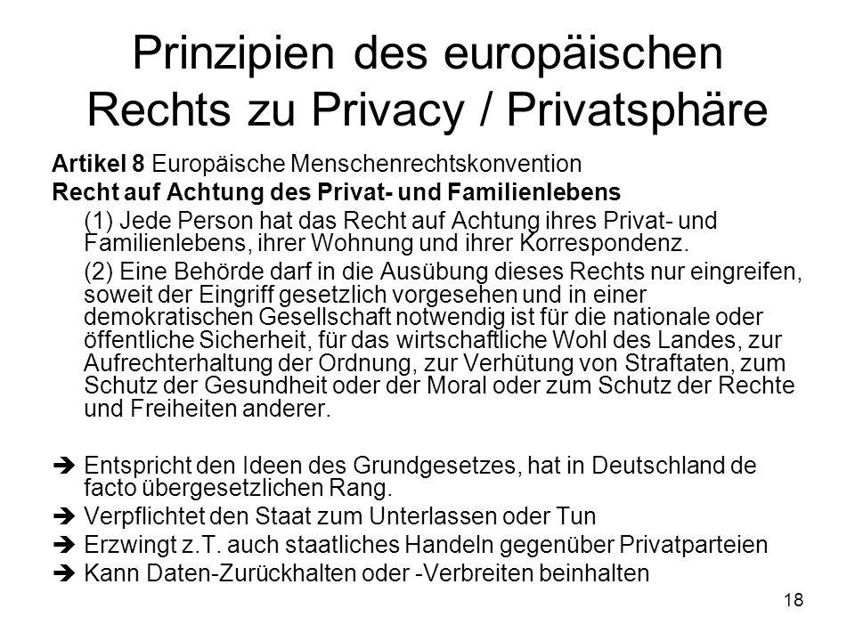 18 Prinzipien des europäischen Rechts zu Privacy / Privatsphäre Artikel 8 Europäische Menschenrechtskonvention Recht auf Achtung des Privat- und Familienlebens (1) Jede Person hat das Recht auf Achtung ihres Privat- und Familienlebens, ihrer Wohnung und ihrer Korrespondenz.