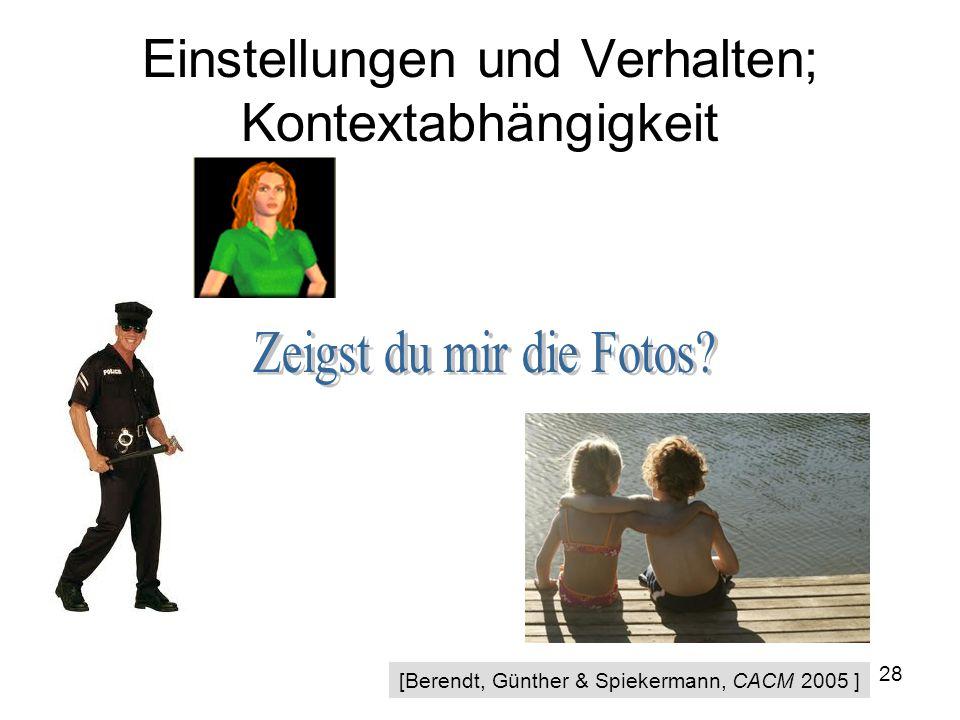 28 Einstellungen und Verhalten; Kontextabhängigkeit [Berendt, Günther & Spiekermann, CACM 2005 ]