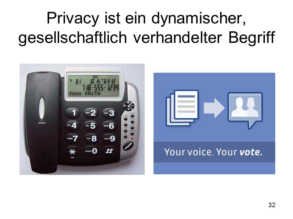 32 Privacy ist ein dynamischer, gesellschaftlich verhandelter Begriff