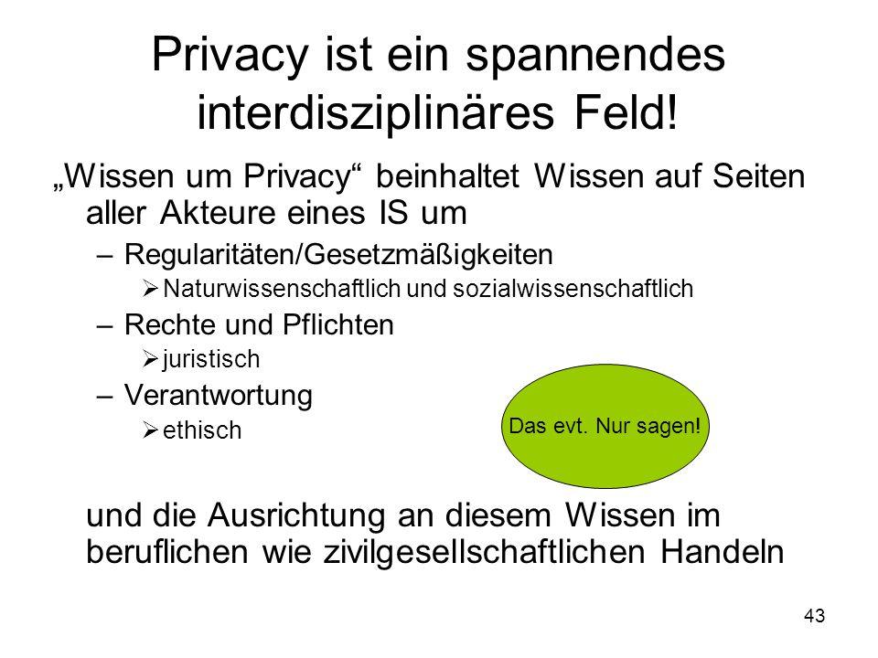 43 Privacy ist ein spannendes interdisziplinäres Feld.