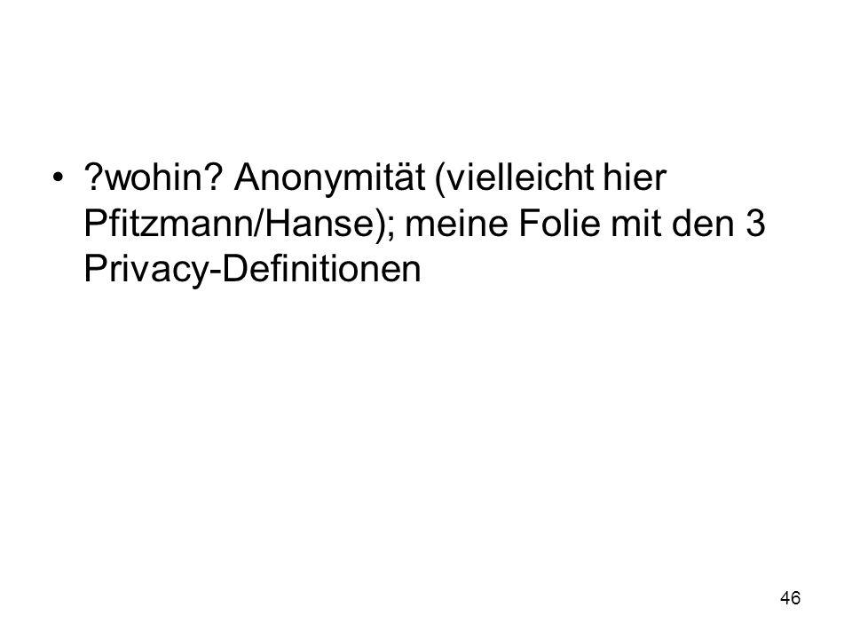 46 wohin Anonymität (vielleicht hier Pfitzmann/Hanse); meine Folie mit den 3 Privacy-Definitionen
