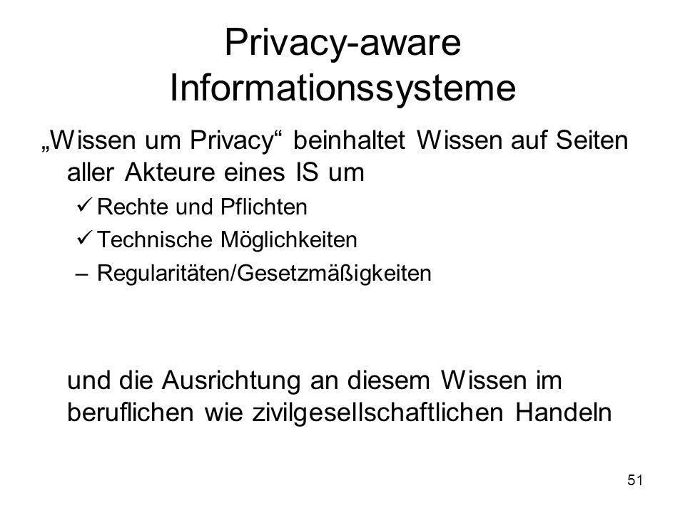 """51 Privacy-aware Informationssysteme """"Wissen um Privacy beinhaltet Wissen auf Seiten aller Akteure eines IS um Rechte und Pflichten Technische Möglichkeiten –Regularitäten/Gesetzmäßigkeiten –Verantwortung und die Ausrichtung an diesem Wissen im beruflichen wie zivilgesellschaftlichen Handeln"""