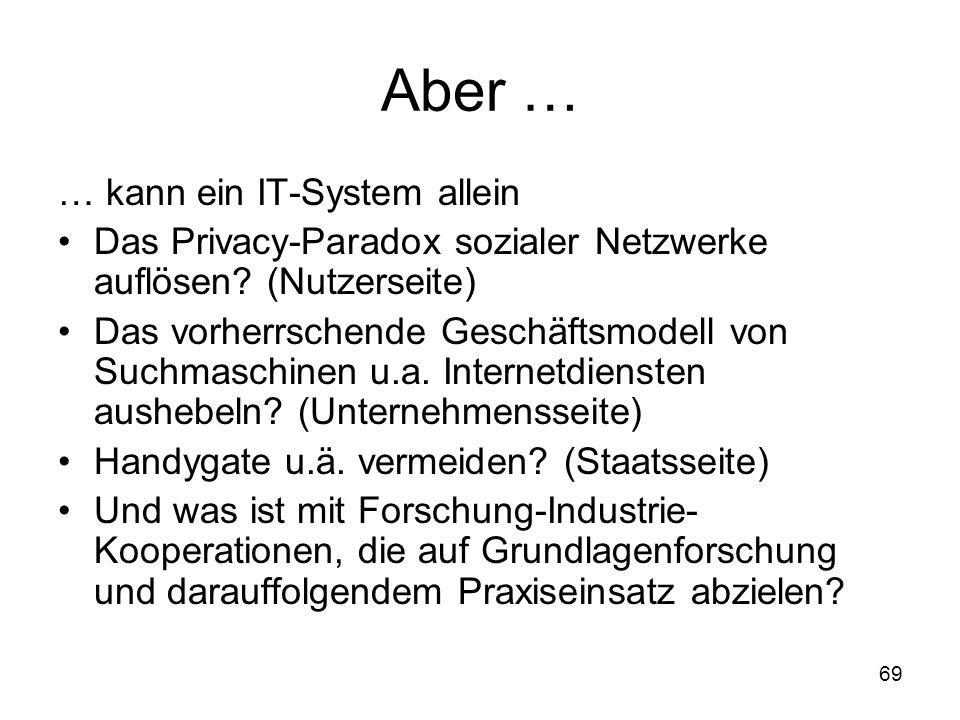 69 Aber … … kann ein IT-System allein Das Privacy-Paradox sozialer Netzwerke auflösen.