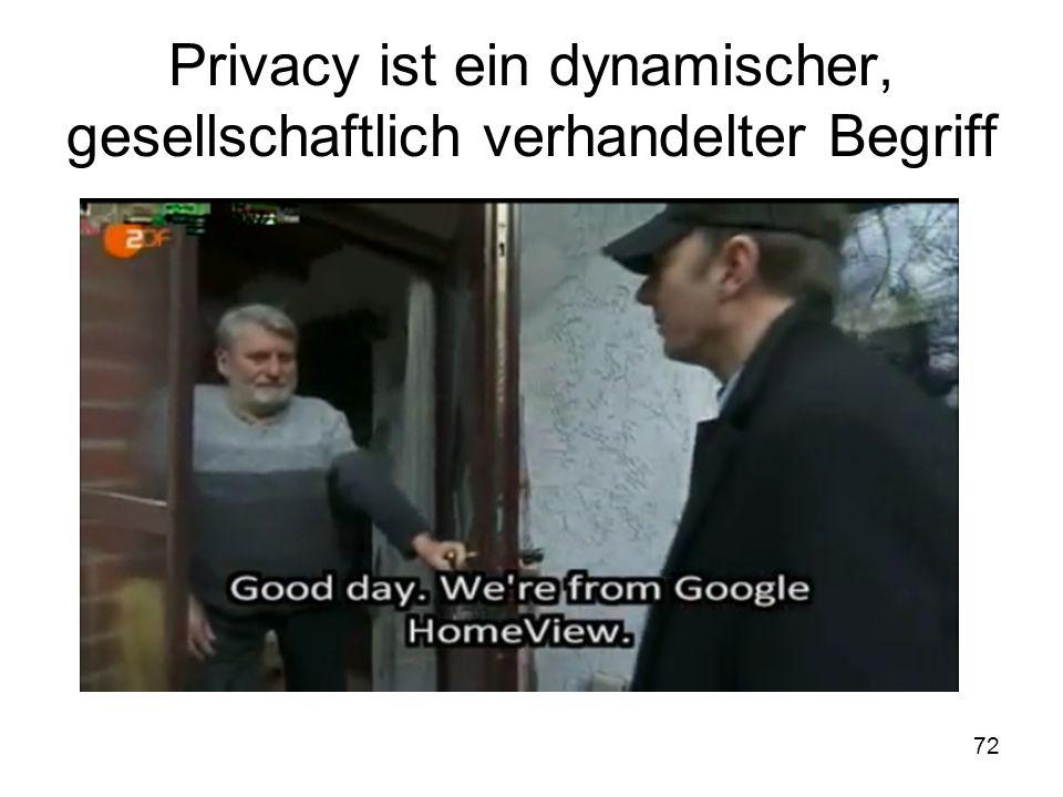 72 Privacy ist ein dynamischer, gesellschaftlich verhandelter Begriff