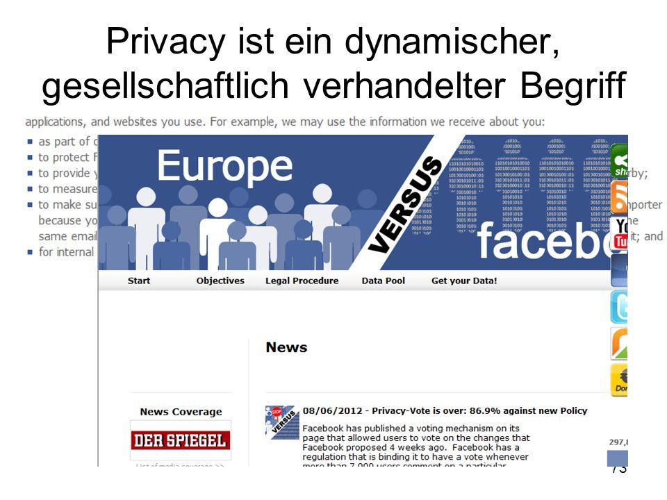73 Privacy ist ein dynamischer, gesellschaftlich verhandelter Begriff
