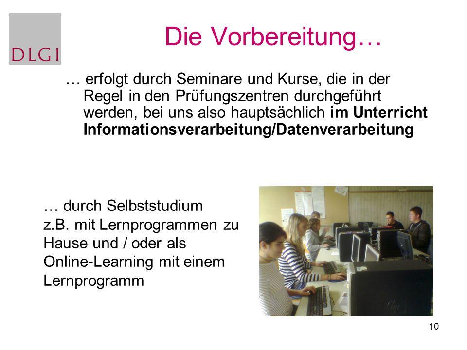 10 … durch Selbststudium z.B. mit Lernprogrammen zu Hause und / oder als Online-Learning mit einem Lernprogramm Die Vorbereitung… … erfolgt durch Semi