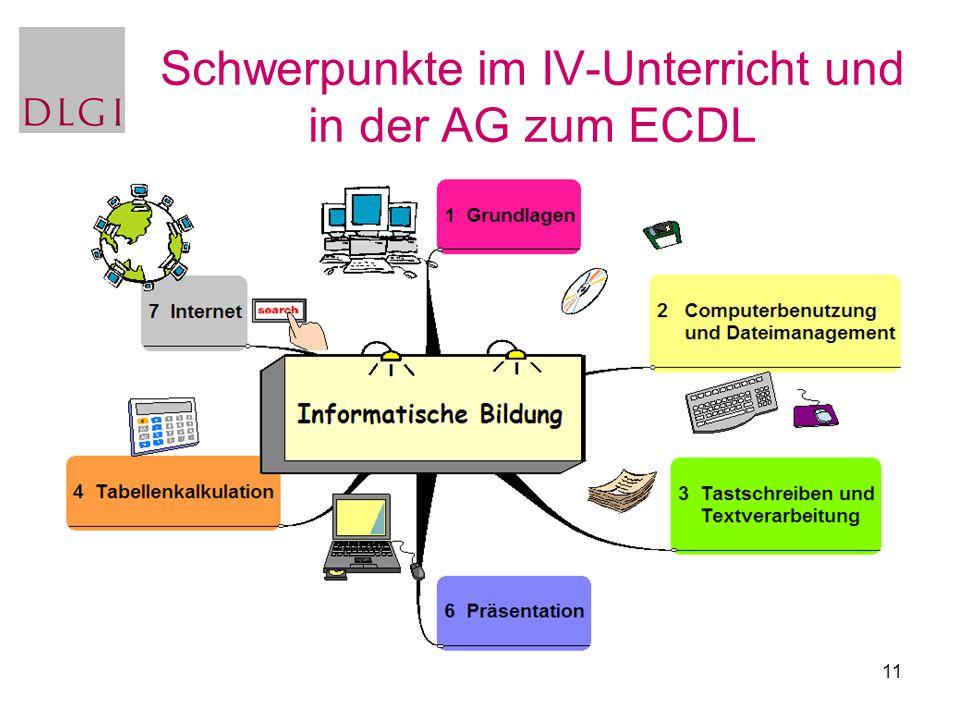 11 Schwerpunkte im IV-Unterricht und in der AG zum ECDL