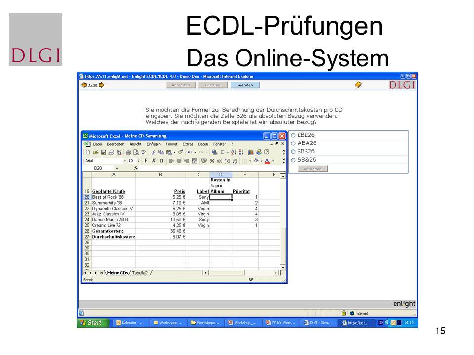 15 ECDL-Prüfungen Das Online-System
