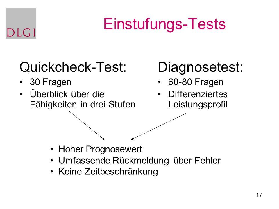 17 Einstufungs-Tests Diagnosetest: 60-80 Fragen Differenziertes Leistungsprofil Quickcheck-Test: 30 Fragen Überblick über die Fähigkeiten in drei Stuf