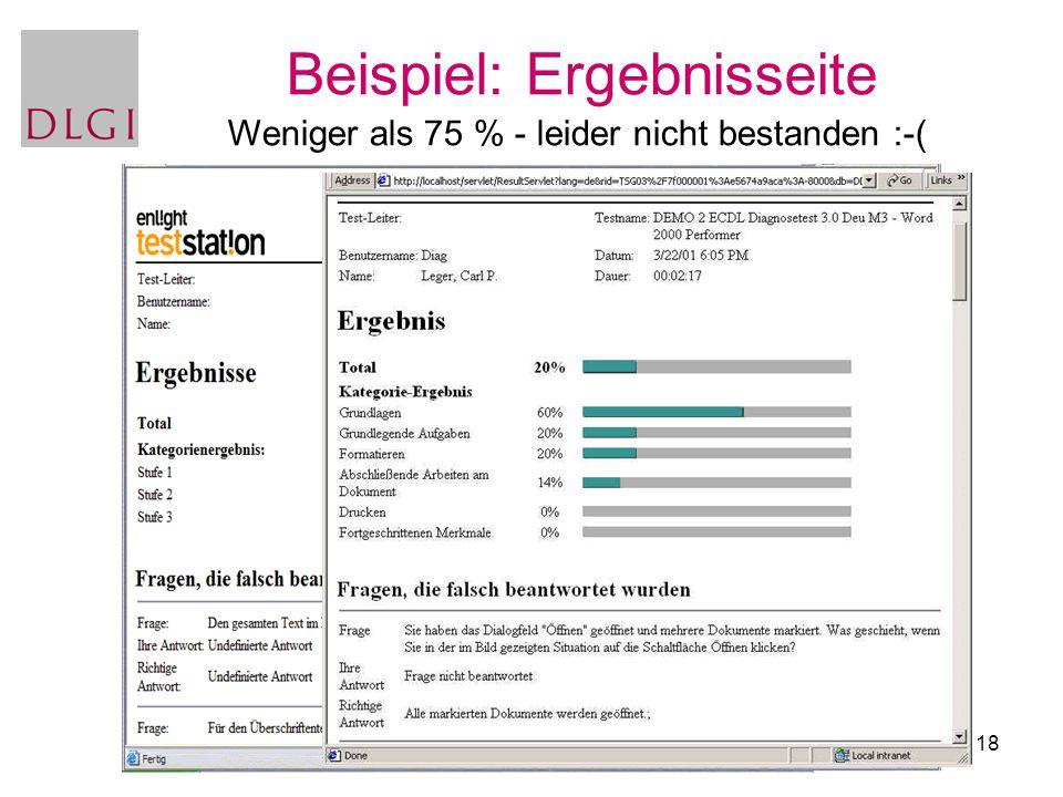 18 Beispiel: Ergebnisseite Weniger als 75 % - leider nicht bestanden :-(