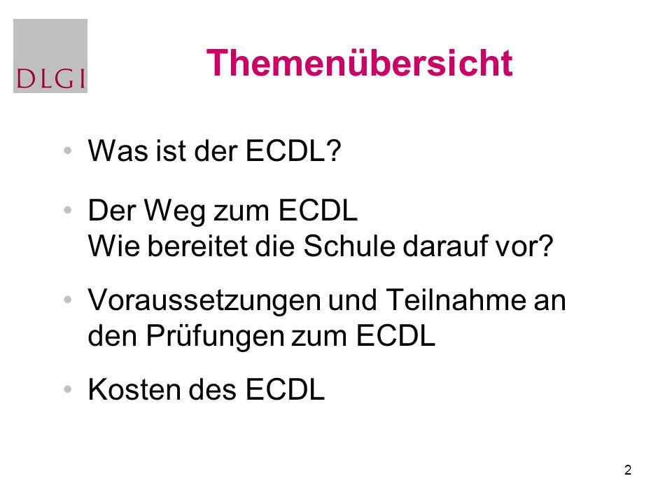 2 Themenübersicht Was ist der ECDL? Der Weg zum ECDL Wie bereitet die Schule darauf vor? Voraussetzungen und Teilnahme an den Prüfungen zum ECDL Koste