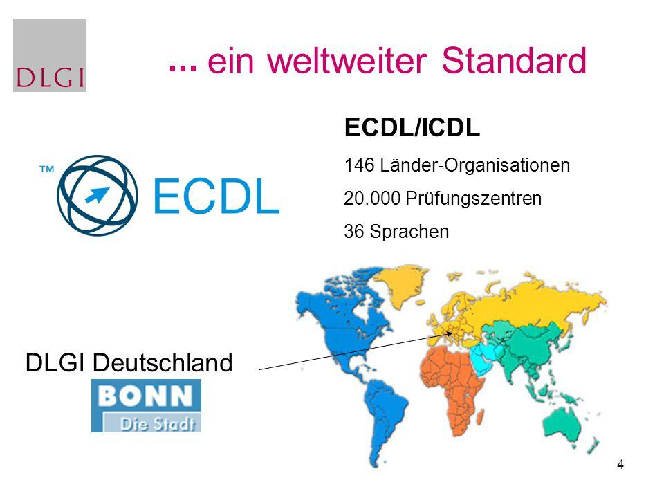 4 ein weltweiter Standard ECDL/ICDL 146 Länder-Organisationen 20.000 Prüfungszentren 36 Sprachen DLGI Deutschland
