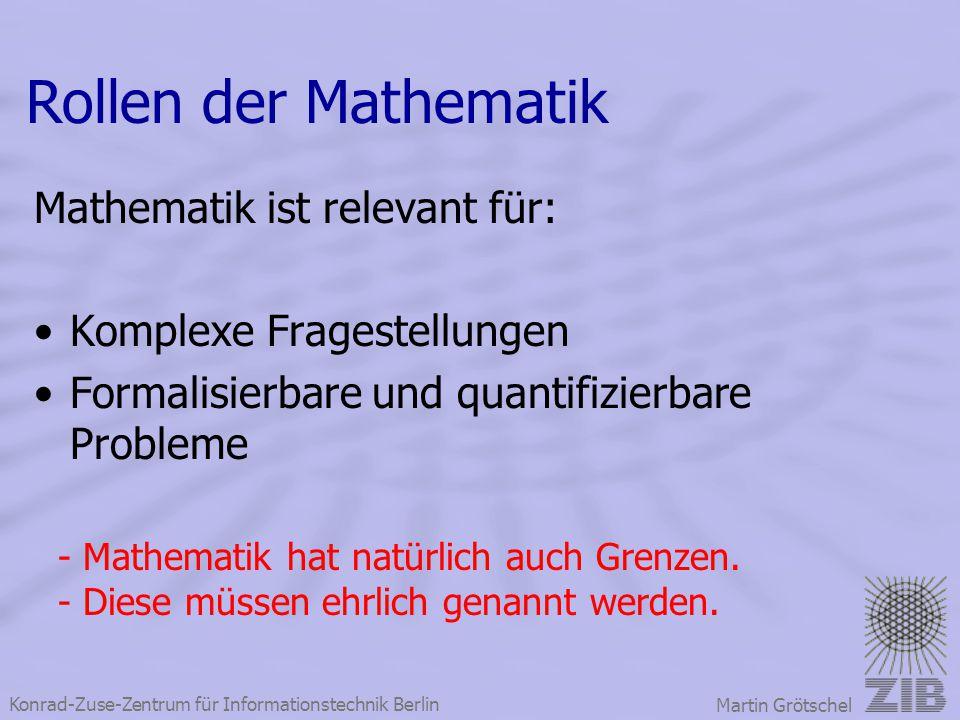 Konrad-Zuse-Zentrum für Informationstechnik Berlin Martin Grötschel Mathematik ist relevant für: Komplexe Fragestellungen Formalisierbare und quantifi