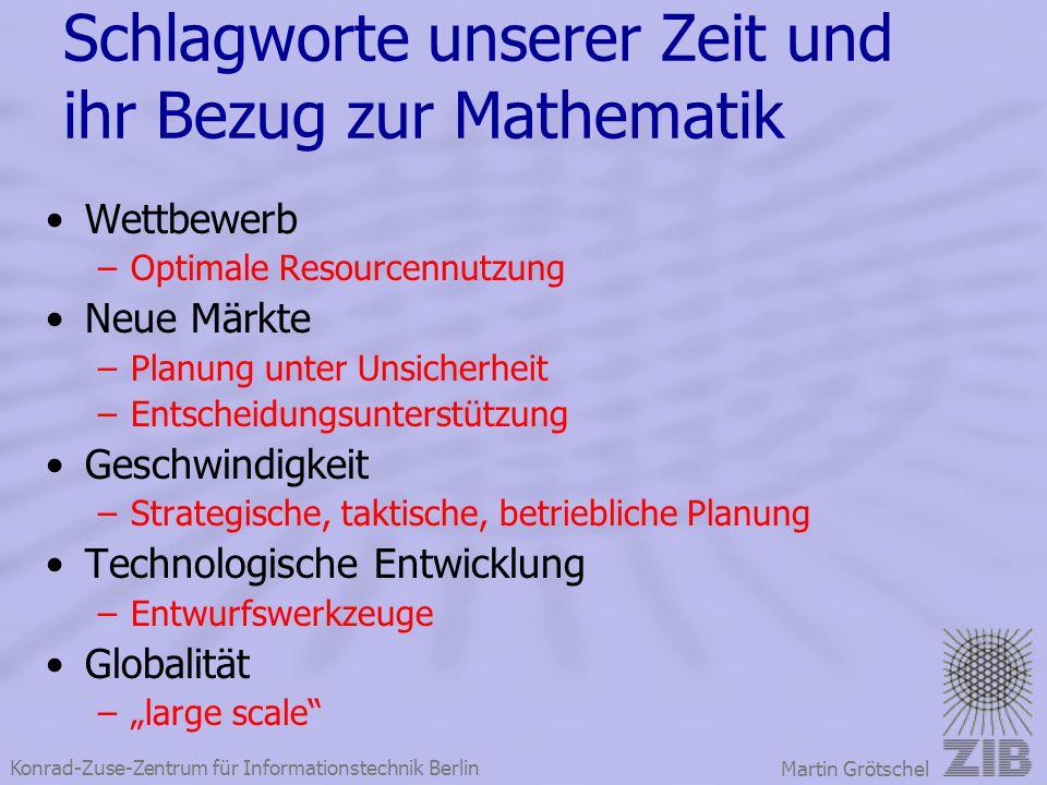 Konrad-Zuse-Zentrum für Informationstechnik Berlin Martin Grötschel Schlagworte unserer Zeit und ihr Bezug zur Mathematik Wettbewerb –Optimale Resourc