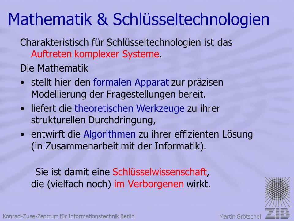 Konrad-Zuse-Zentrum für Informationstechnik Berlin Martin Grötschel Mathematik & Schlüsseltechnologien Charakteristisch für Schlüsseltechnologien ist