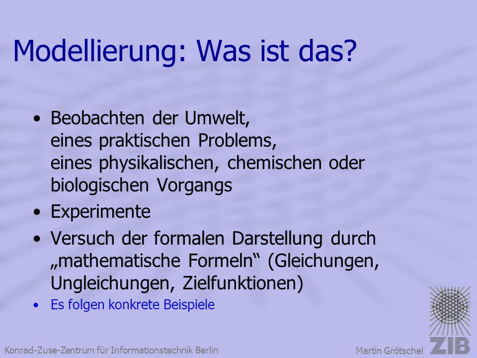 Konrad-Zuse-Zentrum für Informationstechnik Berlin Martin Grötschel Modellierung: Was ist das? Beobachten der Umwelt, eines praktischen Problems, eine