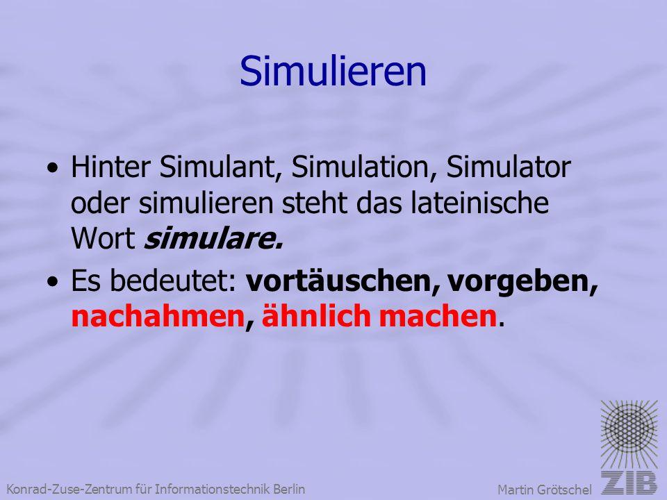 Konrad-Zuse-Zentrum für Informationstechnik Berlin Martin Grötschel Simulieren Hinter Simulant, Simulation, Simulator oder simulieren steht das latein