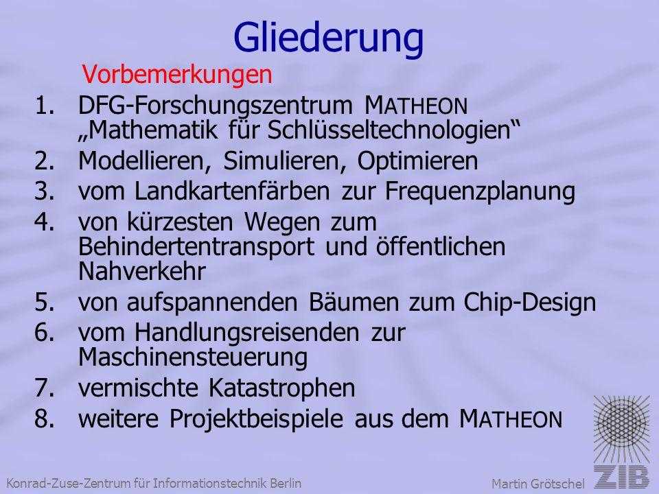 """Konrad-Zuse-Zentrum für Informationstechnik Berlin Martin Grötschel Gliederung Vorbemerkungen 1.DFG-Forschungszentrum M ATHEON """"Mathematik für Schlüss"""
