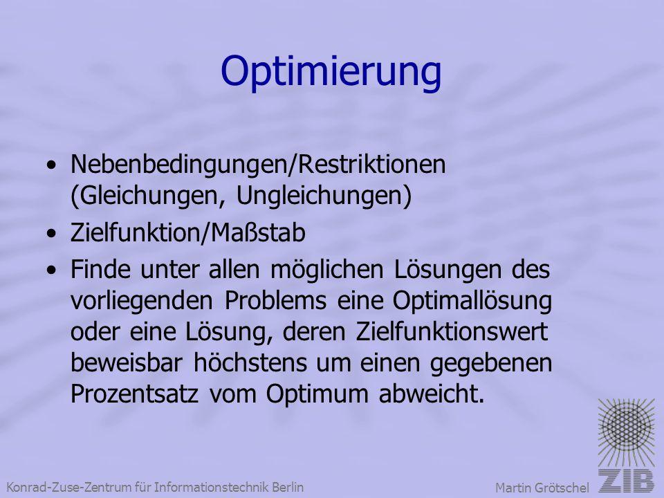 Konrad-Zuse-Zentrum für Informationstechnik Berlin Martin Grötschel Optimierung Nebenbedingungen/Restriktionen (Gleichungen, Ungleichungen) Zielfunkti