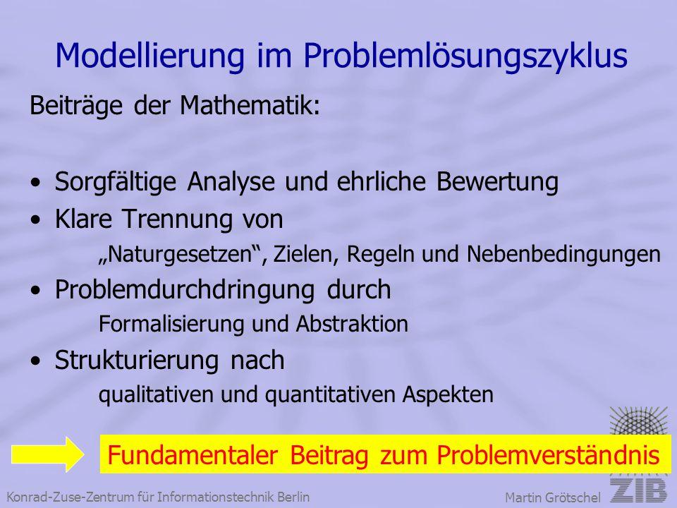 Konrad-Zuse-Zentrum für Informationstechnik Berlin Martin Grötschel Modellierung im Problemlösungszyklus Beiträge der Mathematik: Sorgfältige Analyse