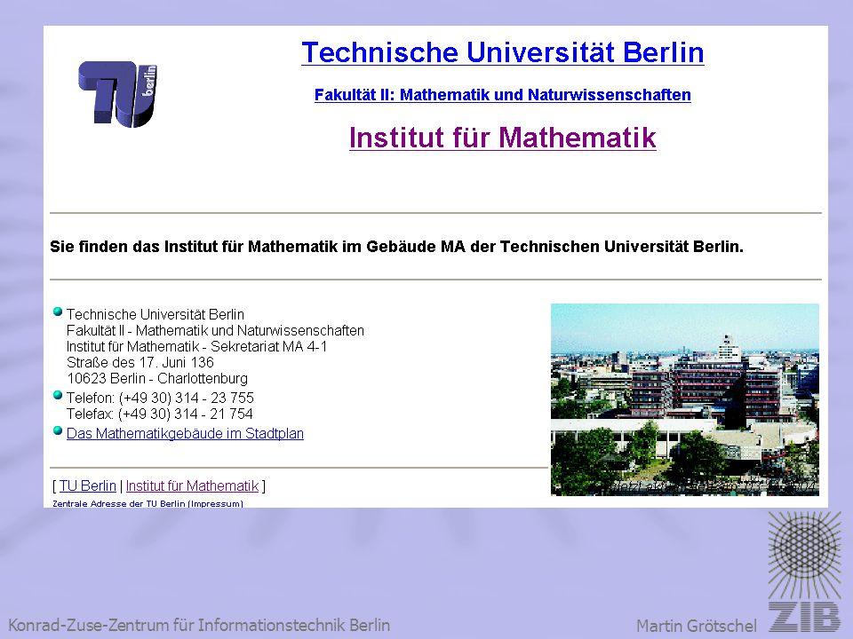 Konrad-Zuse-Zentrum für Informationstechnik Berlin Martin Grötschel