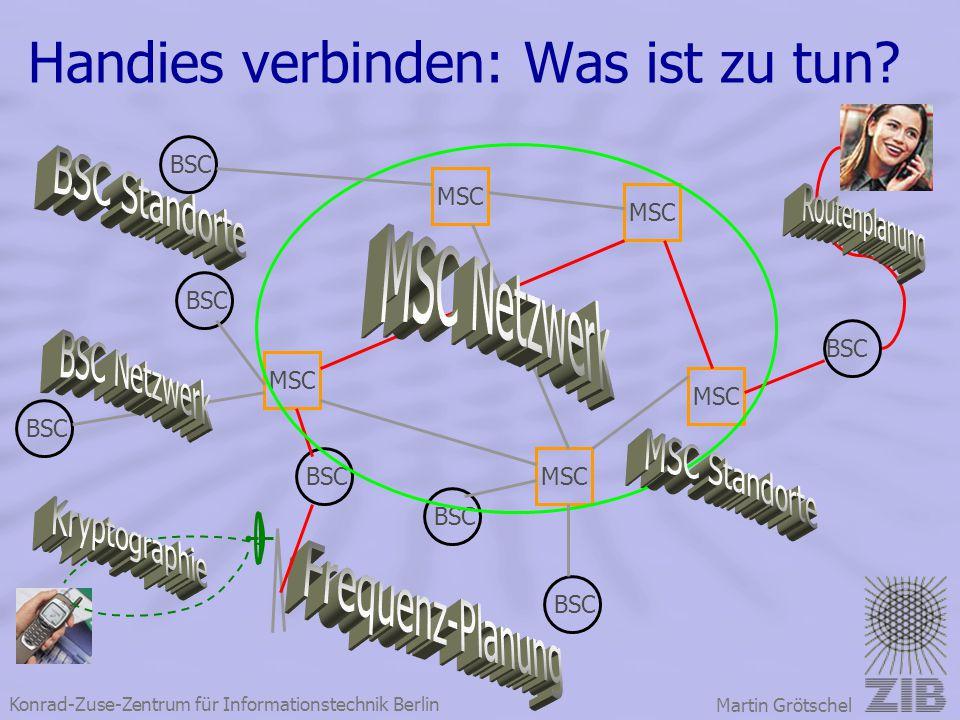 Konrad-Zuse-Zentrum für Informationstechnik Berlin Martin Grötschel Handies verbinden: Was ist zu tun? BSC MSC BSC MSC