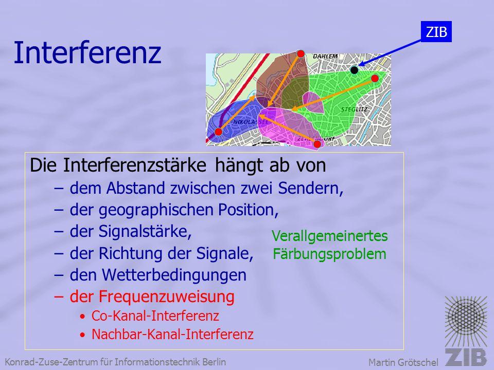 Konrad-Zuse-Zentrum für Informationstechnik Berlin Martin Grötschel Interferenz Die Interferenzstärke hängt ab von –dem Abstand zwischen zwei Sendern,