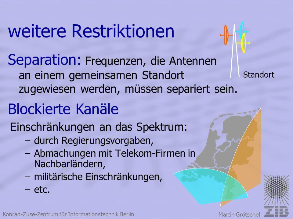 Konrad-Zuse-Zentrum für Informationstechnik Berlin Martin Grötschel weitere Restriktionen Einschränkungen an das Spektrum: –durch Regierungsvorgaben,