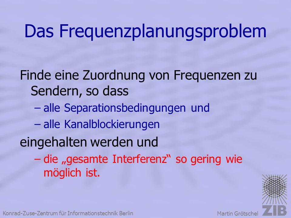 Konrad-Zuse-Zentrum für Informationstechnik Berlin Martin Grötschel Das Frequenzplanungsproblem Finde eine Zuordnung von Frequenzen zu Sendern, so das