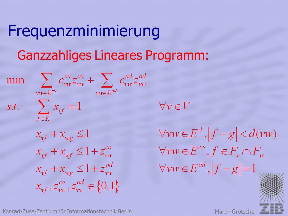 Konrad-Zuse-Zentrum für Informationstechnik Berlin Martin Grötschel Frequenzminimierung Ganzzahliges Lineares Programm: