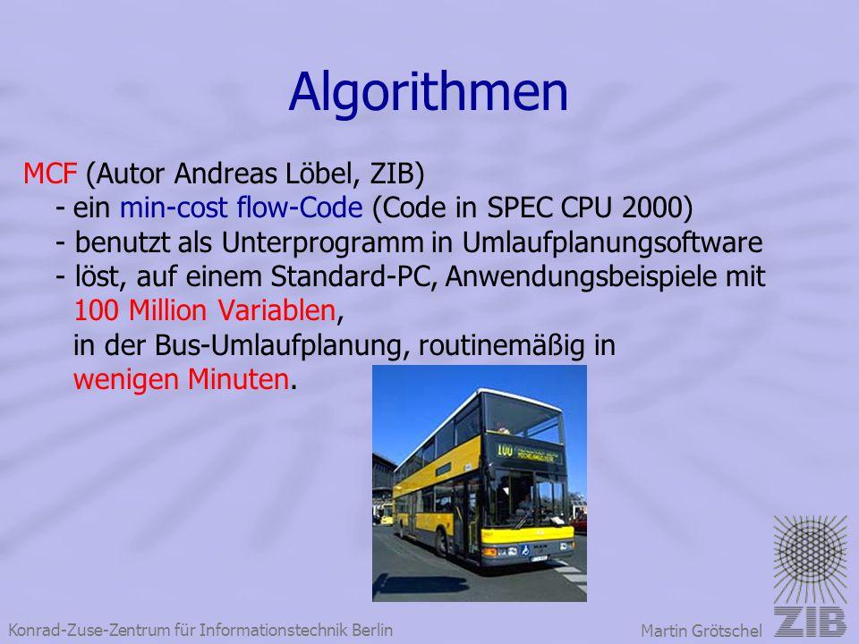 Konrad-Zuse-Zentrum für Informationstechnik Berlin Martin Grötschel Algorithmen MCF (Autor Andreas Löbel, ZIB) - ein min-cost flow-Code (Code in SPEC
