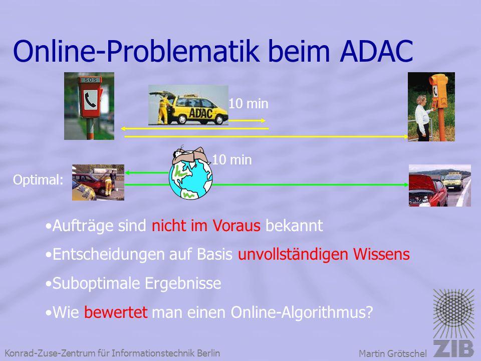 Konrad-Zuse-Zentrum für Informationstechnik Berlin Martin Grötschel Online-Problematik beim ADAC Optimal: 10 min Aufträge sind nicht im Voraus bekannt