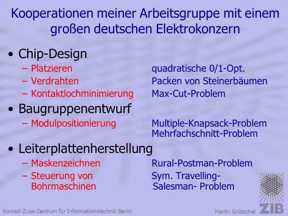 Konrad-Zuse-Zentrum für Informationstechnik Berlin Martin Grötschel Kooperationen meiner Arbeitsgruppe mit einem großen deutschen Elektrokonzern Chip-